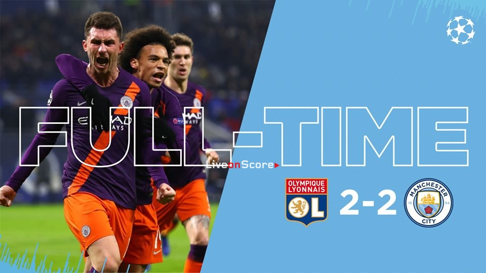 Man City 2-2 Lyon en ligue des champions